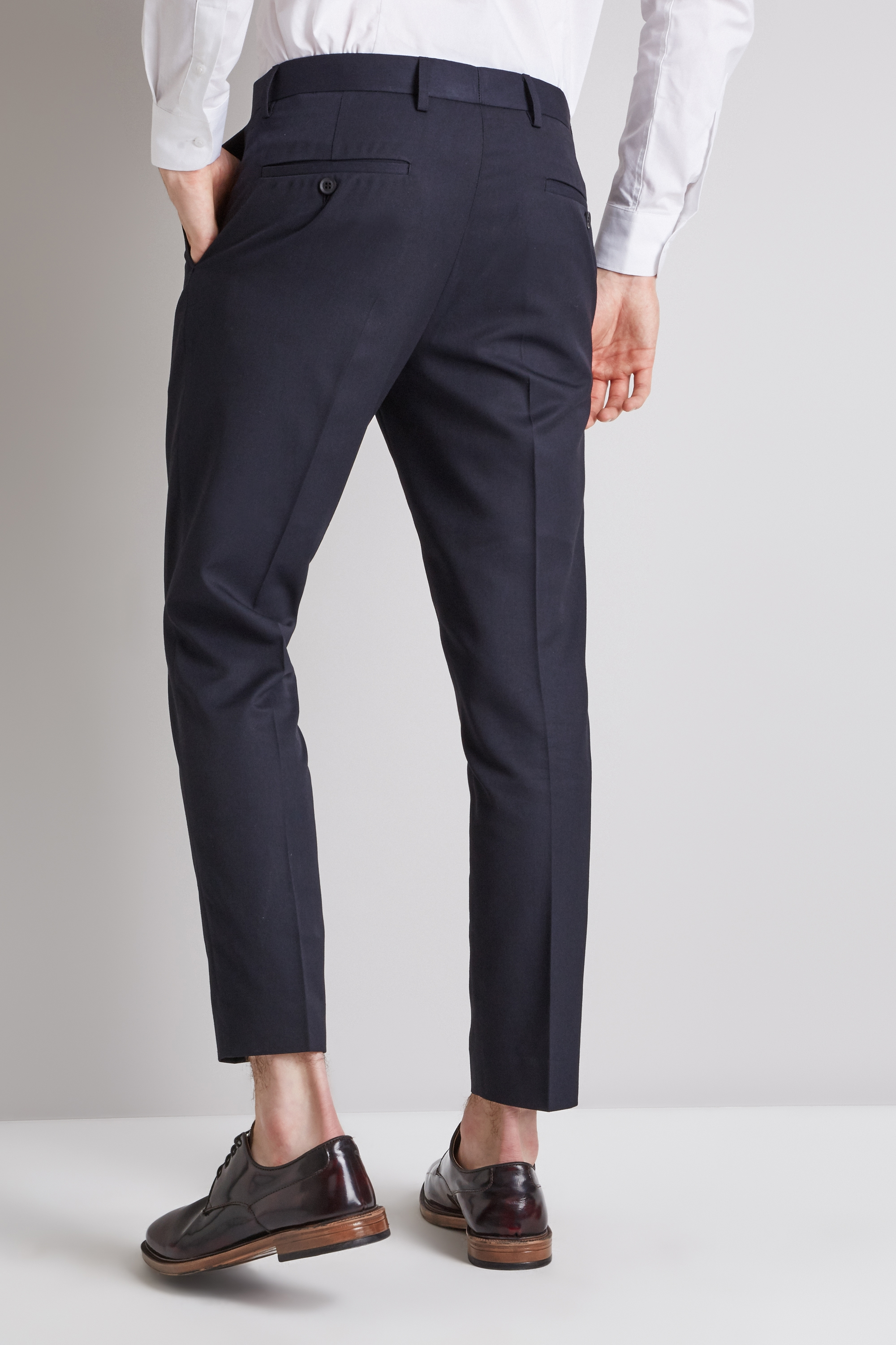 7ce08d31921 Moss London Mens Navy Blue Cropped Trousers Flat Front Slim Fit Casual Pants