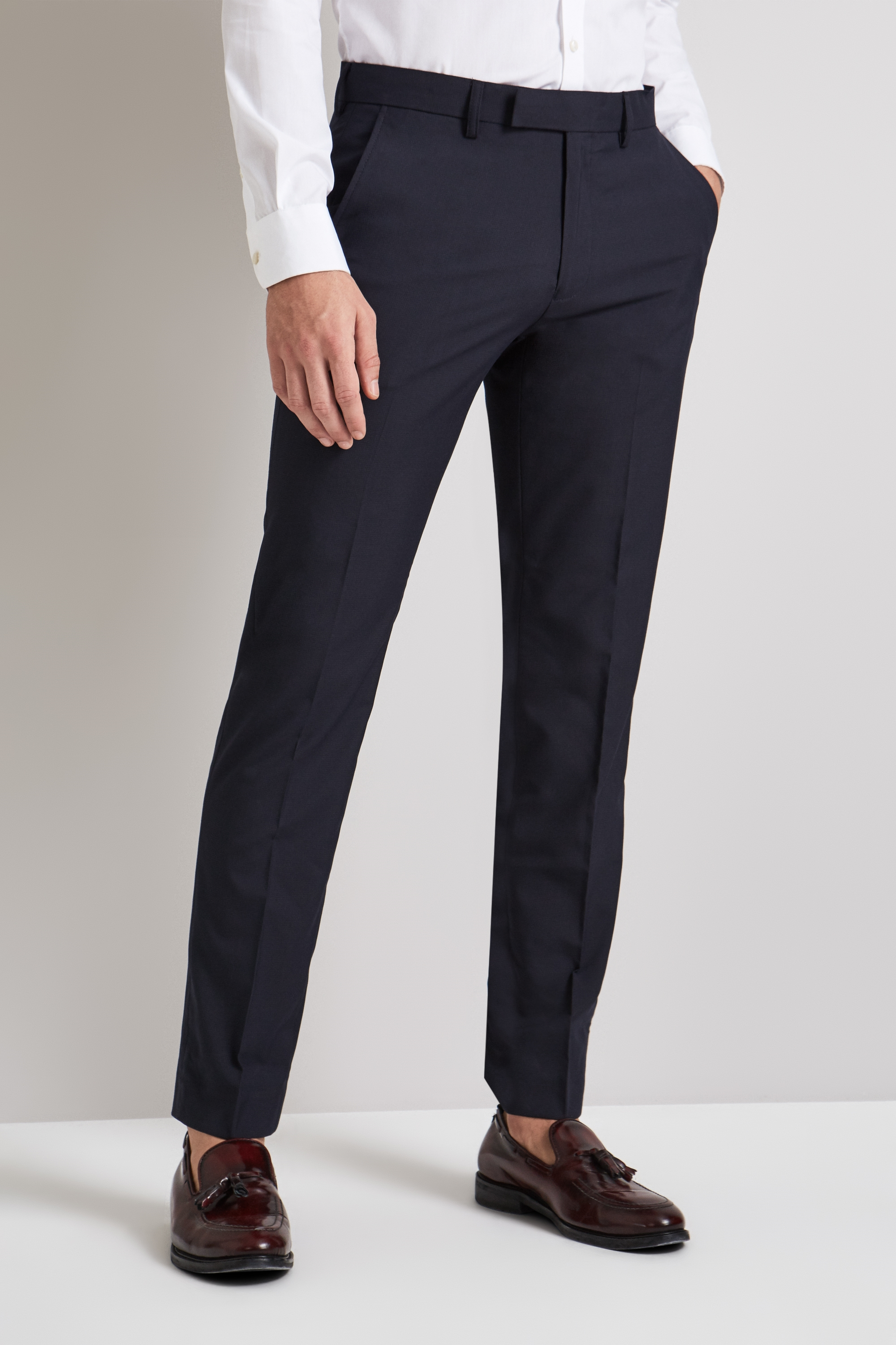Moss London Mens Suit Trousers Slim Fit Navy Blue Micro Check Formal Pants | EBay