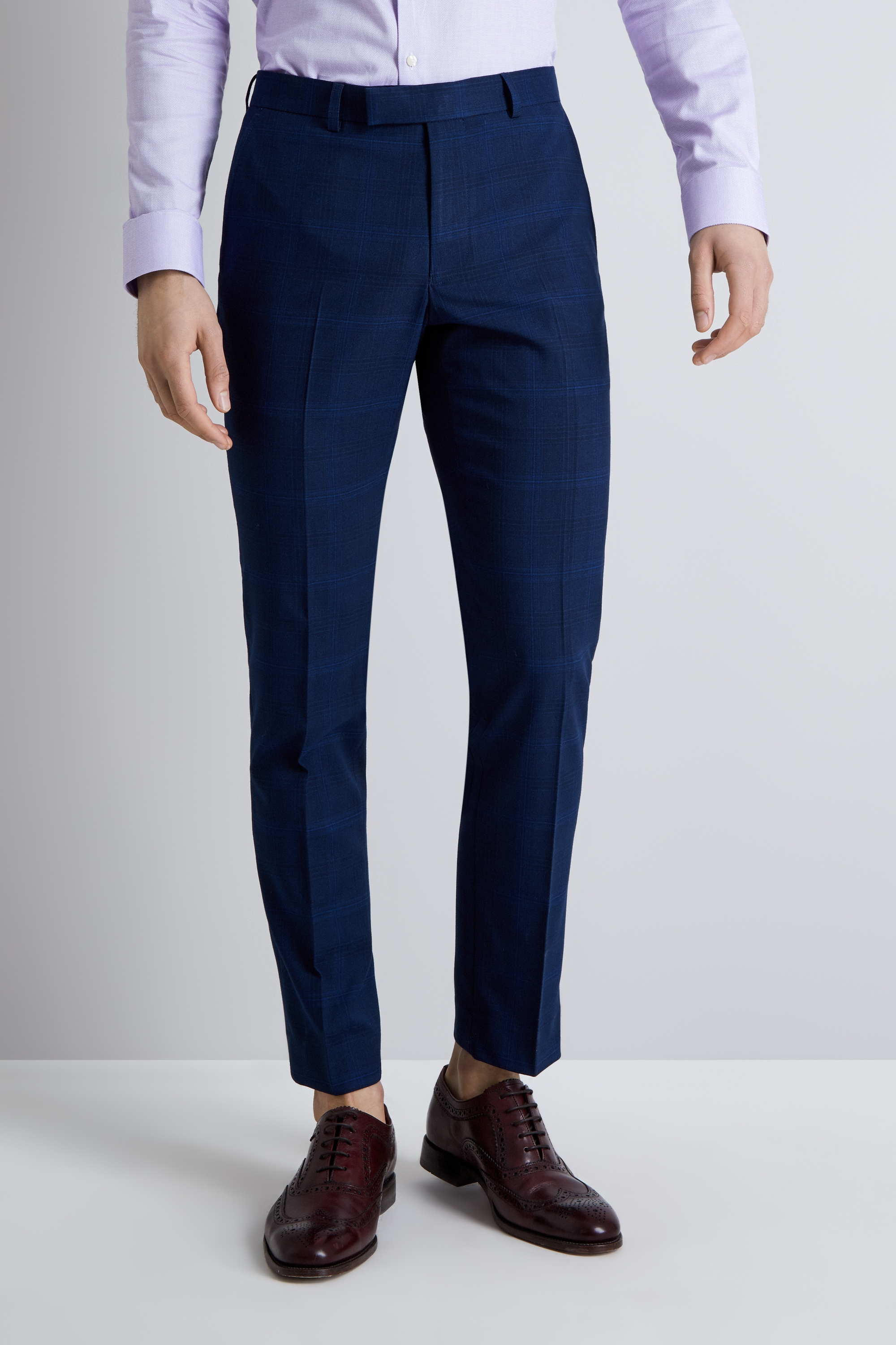 9c42faec813 Moss London Men Blue Cropped Check Trousers Skinny Fit Ankle Length Casual  Pants