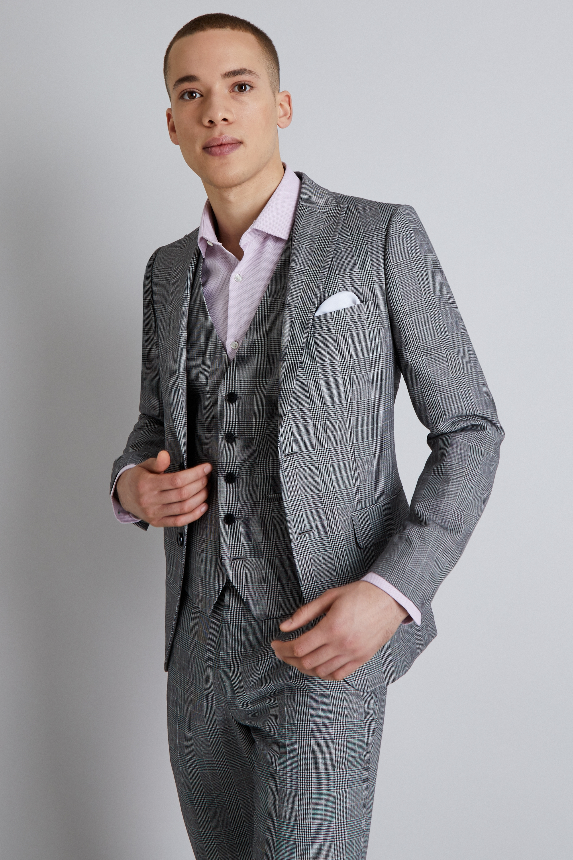 bc7582bbff11 Moss London Mens Grey Suit Jacket Prince Of Wales Check Skinny Fit Blazer