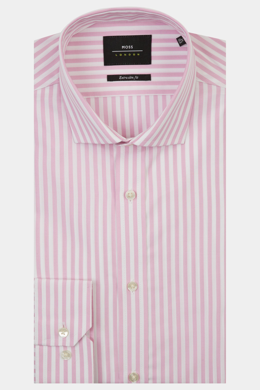93641cddc9 Details about Moss London Premium Mens Stripe Shirt Extra Slim Fit Pink  Single Cuff Cotton