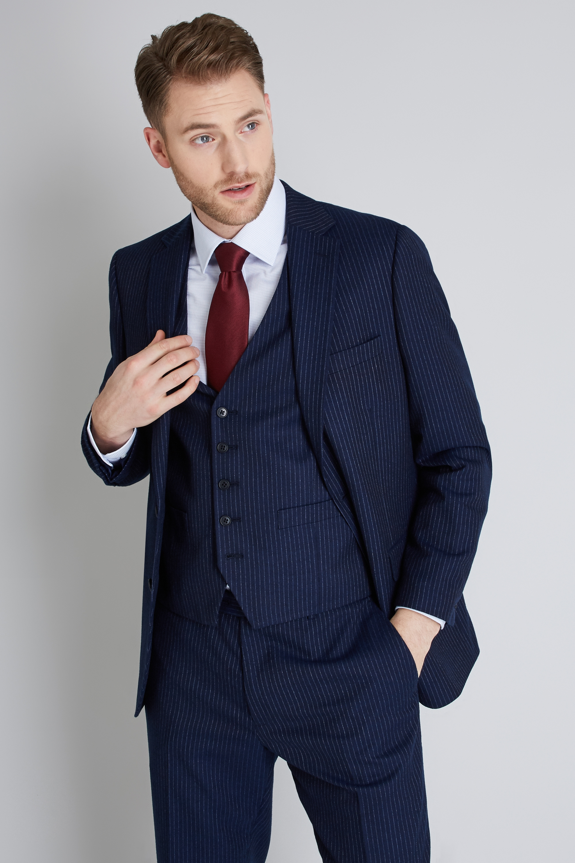 Moss Esq. Men Navy Blue Suit Jacket Pinstripe Single ...