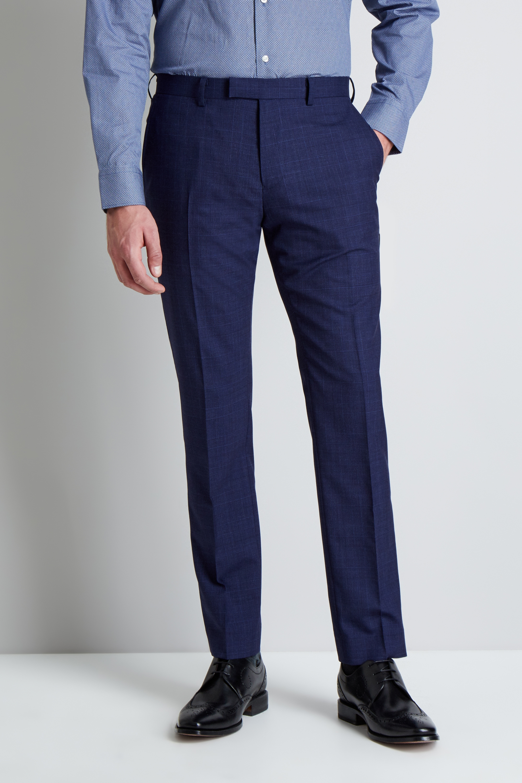 designer fashion outlet online Super discount Details about Moss 1851 Mens Suit Trousers Tailored Fit Navy Blue Check  Pants Mix & Match
