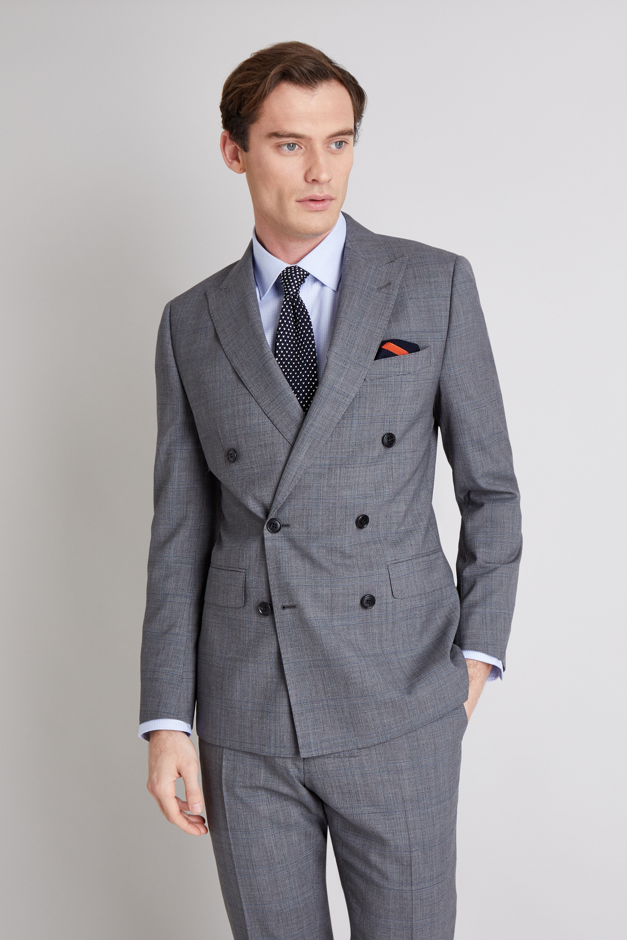 c5692947 Details about Moss 1851 Mens Grey Blue Check Suit Jacket Tailored Fit  Double Breasted Blazer