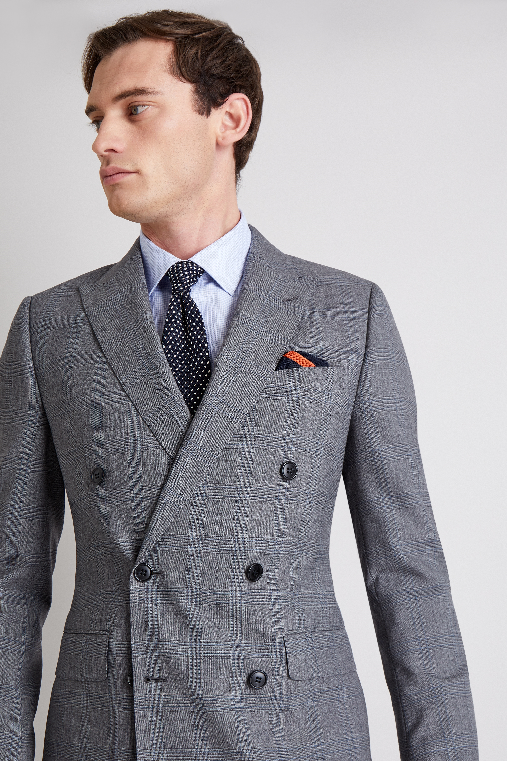 b4cdd27ca Details about Moss 1851 Mens Grey Blue Check Suit Jacket Tailored Fit  Double Breasted Blazer