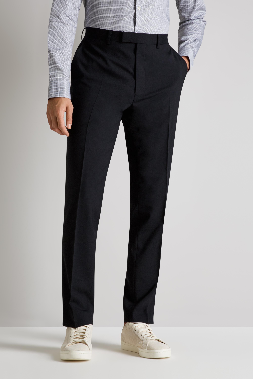 88f55e6fc6c5 French Connection Mens Black Trousers Slim Fit Suit Pants Flat Front Belt  Loops