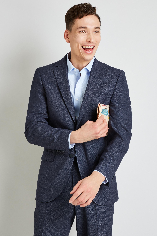 f20910e5 Details about Moss Esq. Mens Blue Speckle Suit Jacket Regular Fit Single  Breasted Blazer