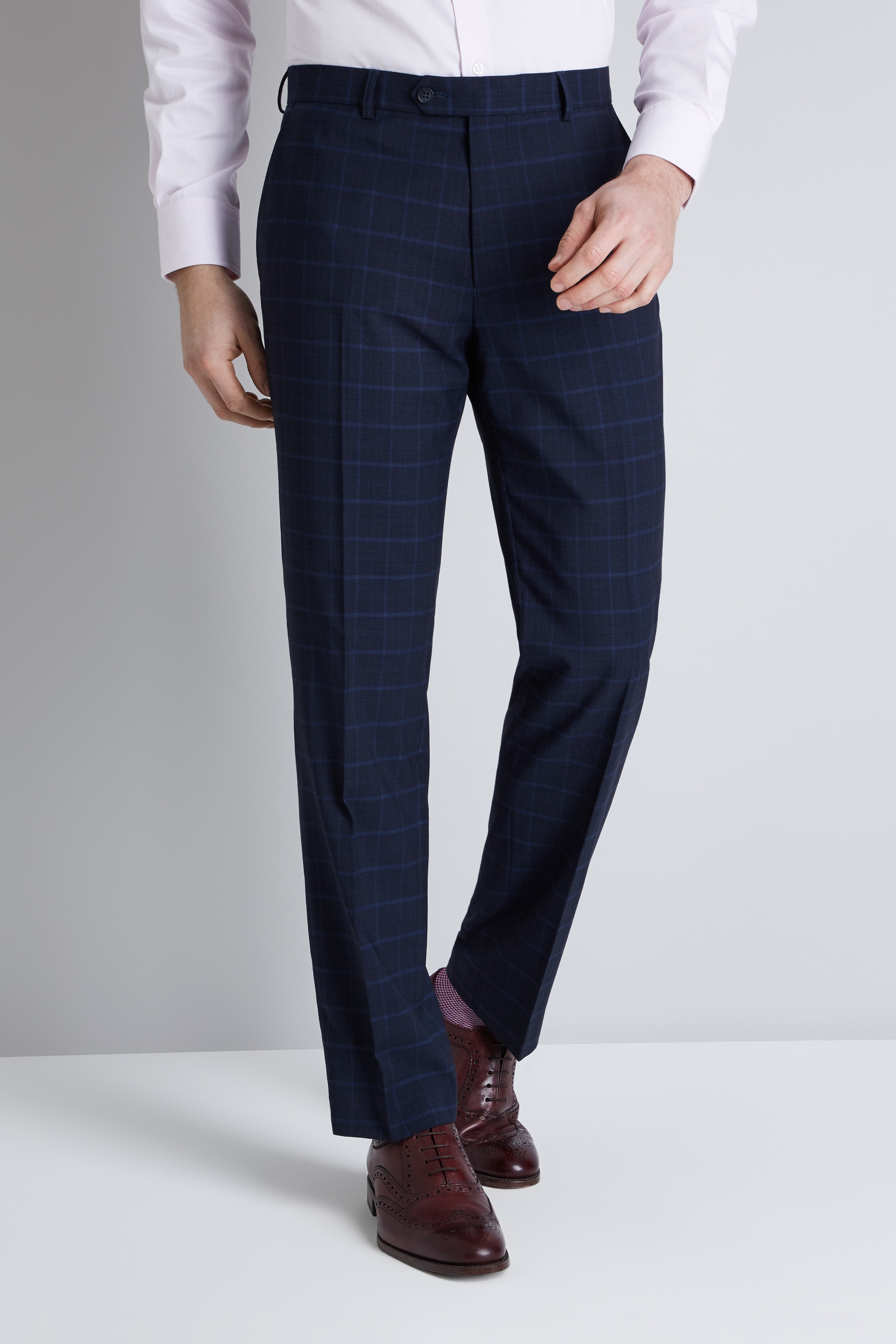 751355fe0 Details about Moss Esq. Mens Blue Check Trousers Regular Fit Flat Front  Suit Pants Belt Loops