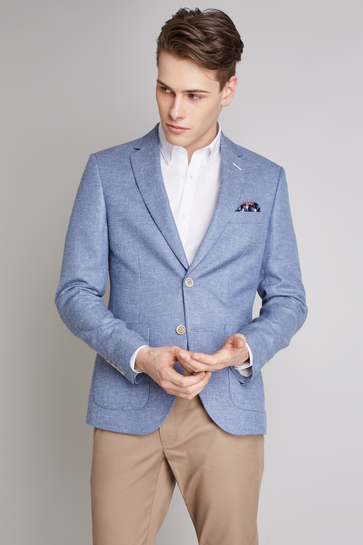 efed47aea7ddb Moss London Sky Blue Suit Jacket Textured Skinny Fit Single Breasted Blazer