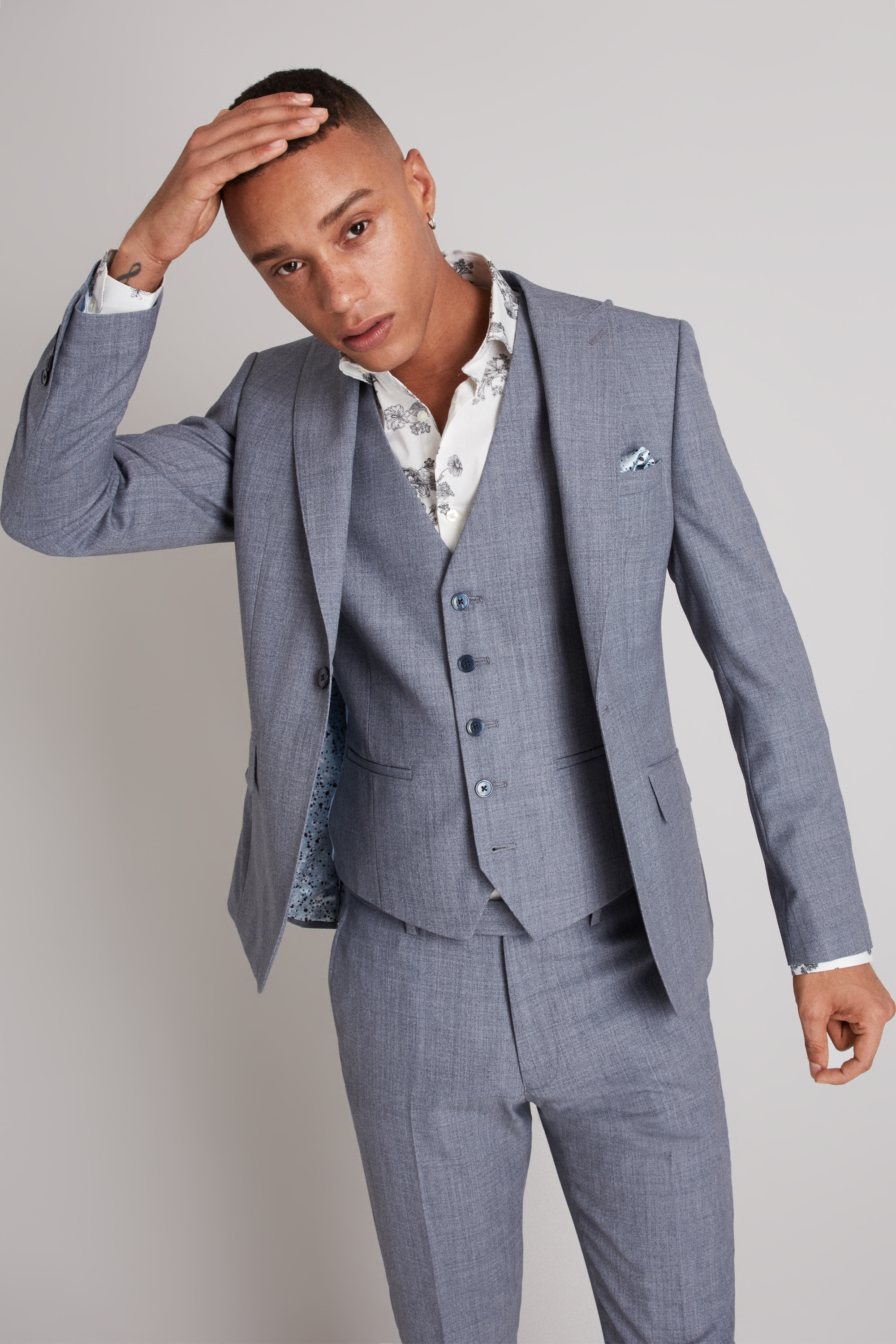 fb72faf2a95 Details about Moss London Mens Suit Jacket Skinny Fit Light Blue Crepe One  Button Mix   Match