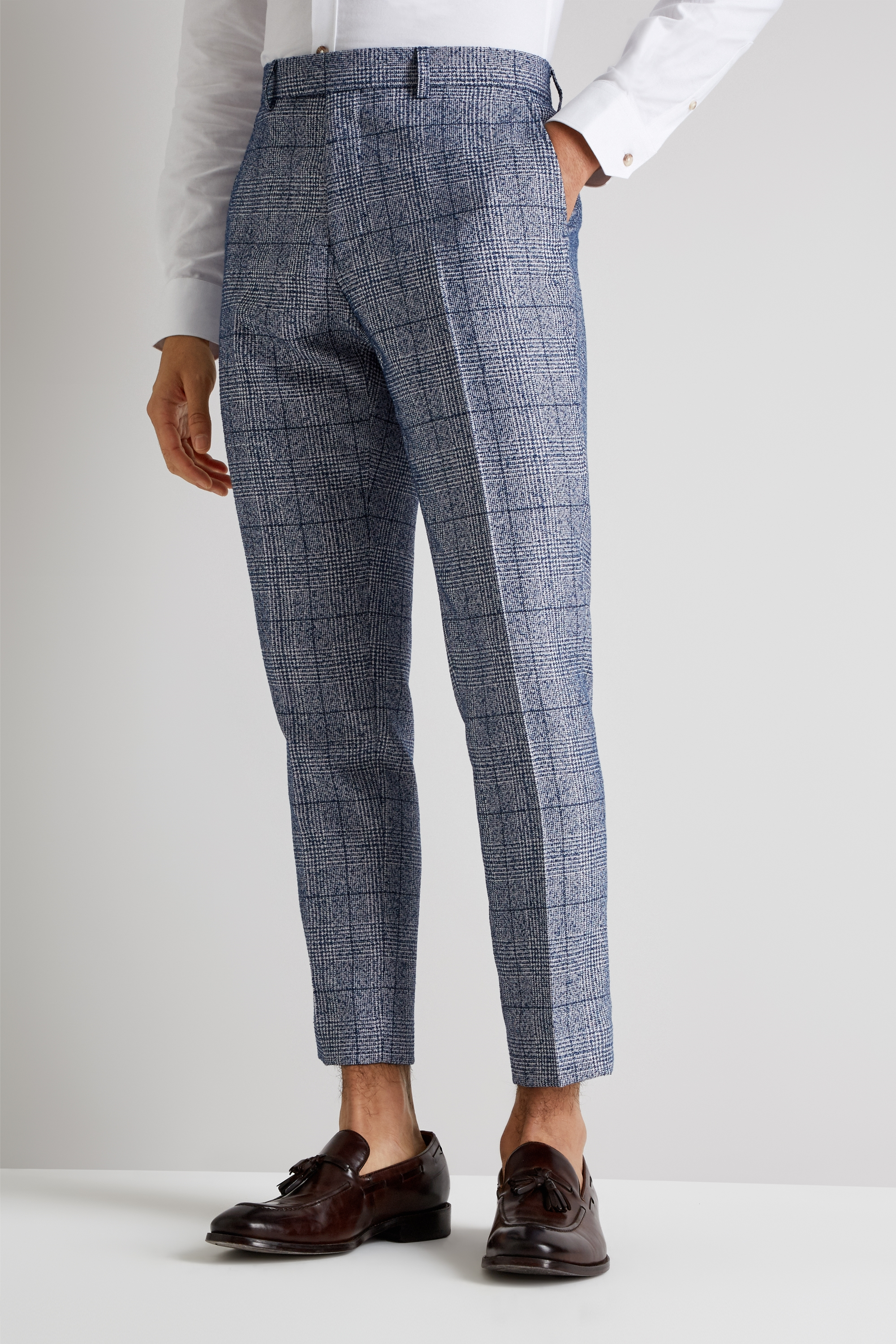 Moss London Mens Blue Cropped Trousers Windowpane Check Casual Pants