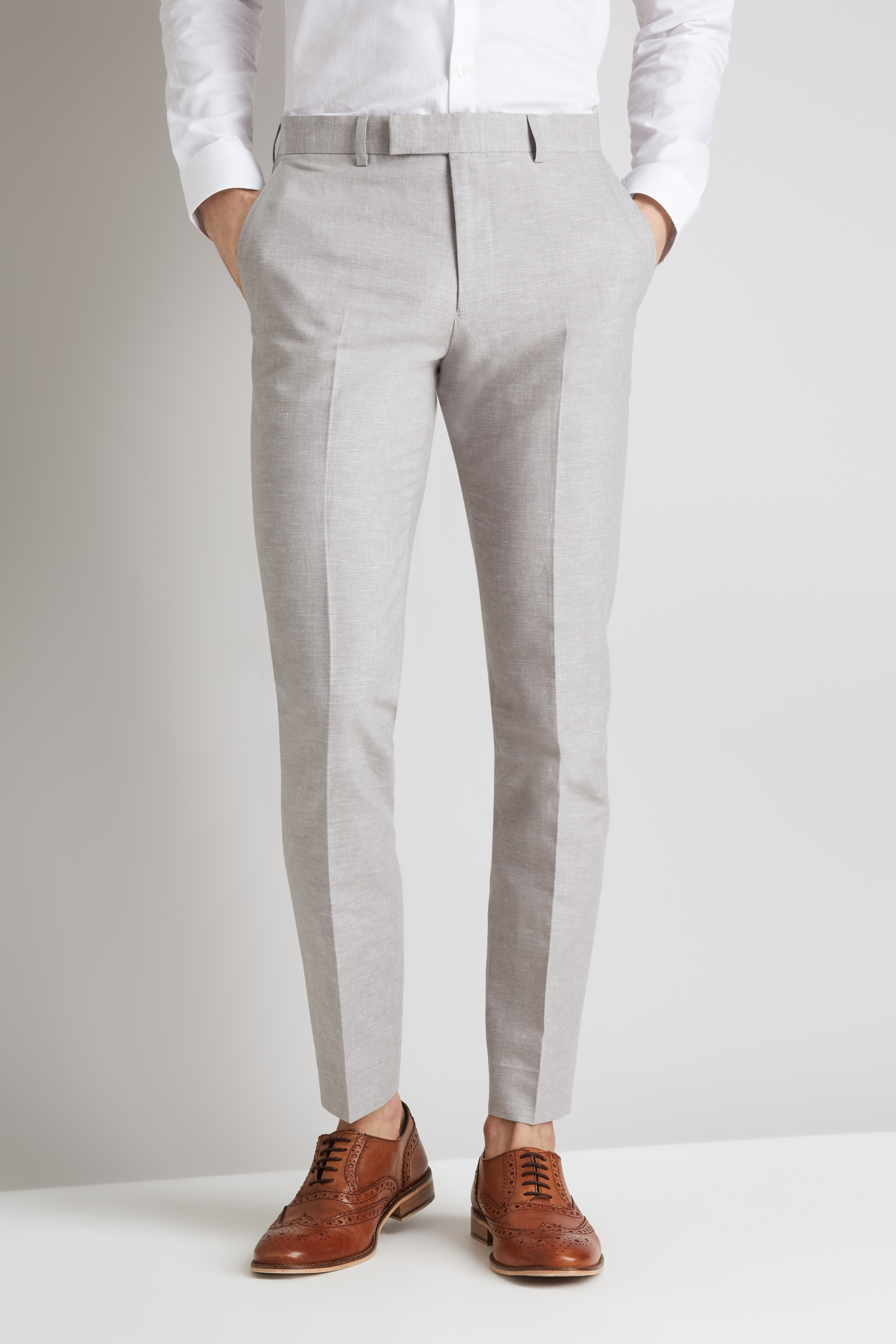 2d419d8fac3 Details about Moss London Mens Suit Trousers Light Grey Linen Cotton Formal  Pants