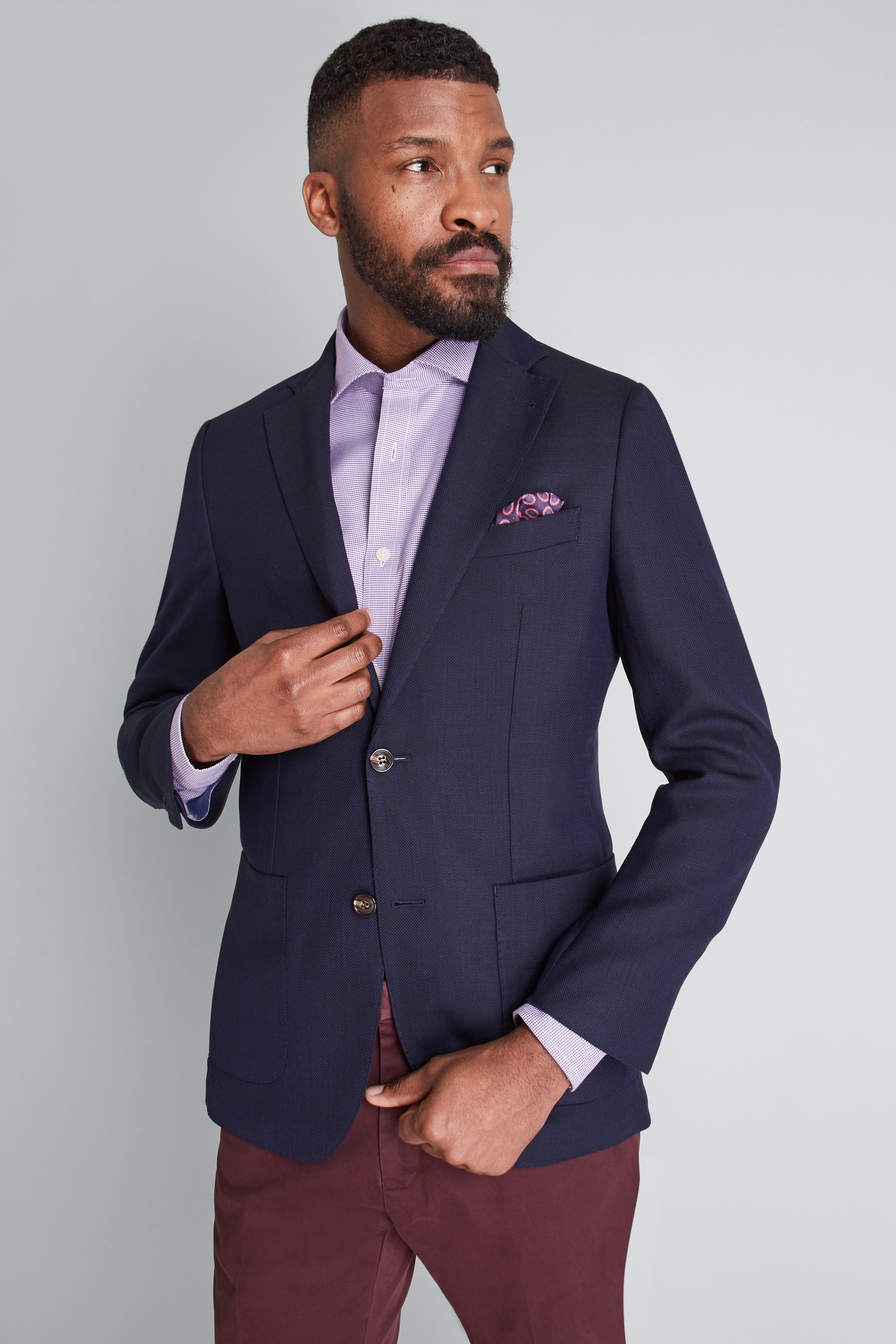 a0ca3aa3 Details about Moss 1851 Mens Jacket Tailored Fit Navy Blue Travel Blazer  Smart Casual 2 Button