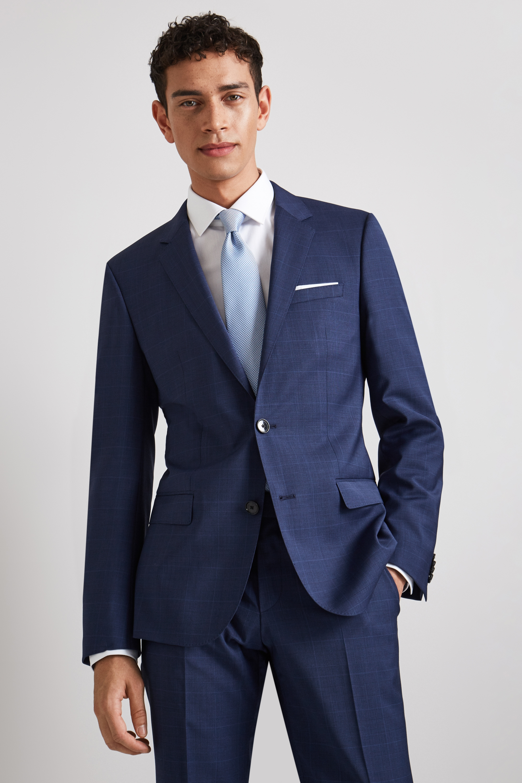 8dcc778c647 Details about Hugo Boss Mens Suit Jacket Slim Fit Blue Prince of Wales  Virgin Wool 2 Buttons