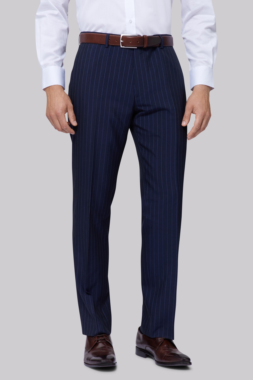 02b645d4d87 Details about Moss Esq. Mens Suit Trousers Regular Fit Navy Blue Stripe  Formal Pants