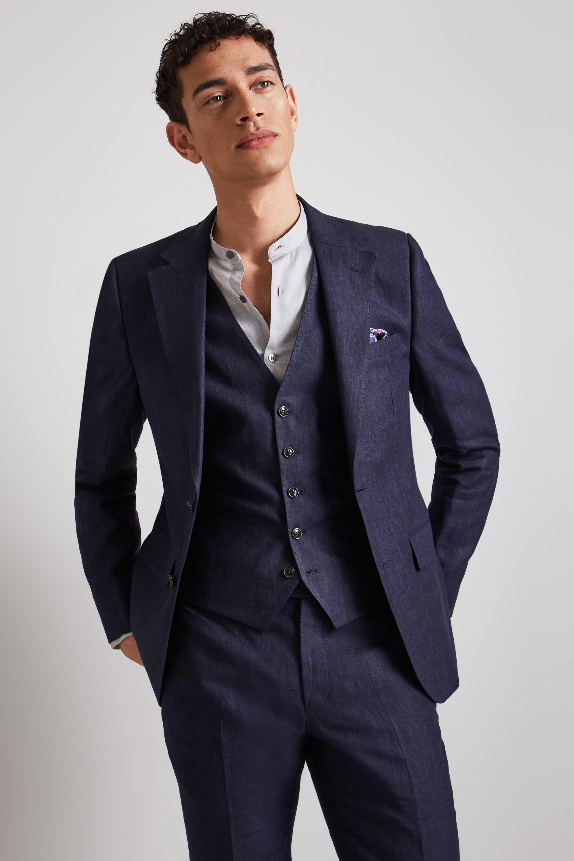 26f0eecec59 Details about Moss London Mens Suit Jacket Mens Skinny Fit Navy Linen 2  Button Mix   Match