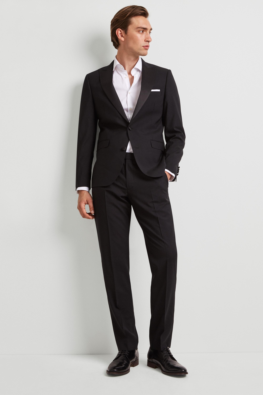 98d2ee3bfe4d Details about DKNY Mens Suit Jacket Slim Fit Plain Black 2 Button Single  Breasted