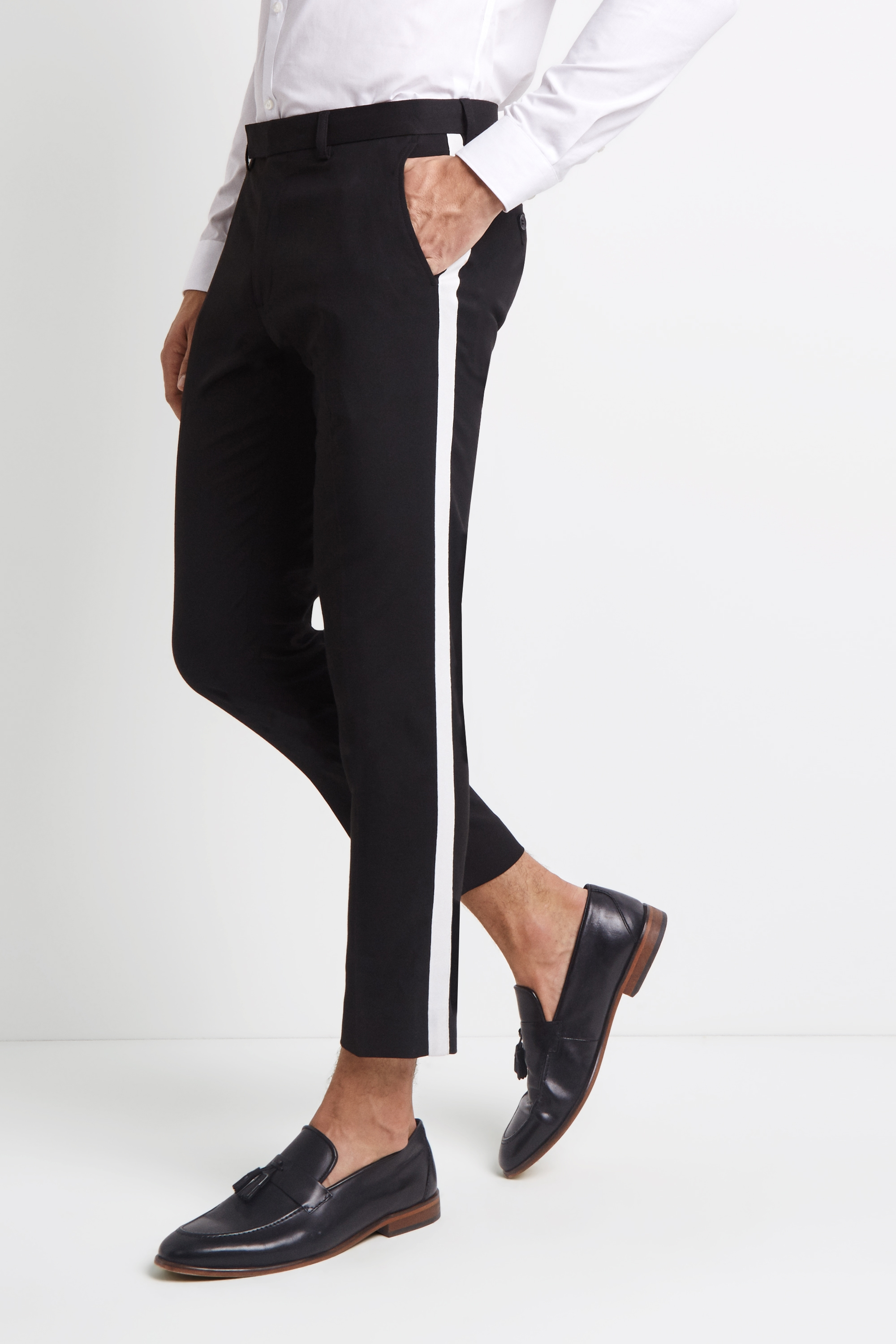Moss London Mens Trousers Skinny Fit Black With White Side