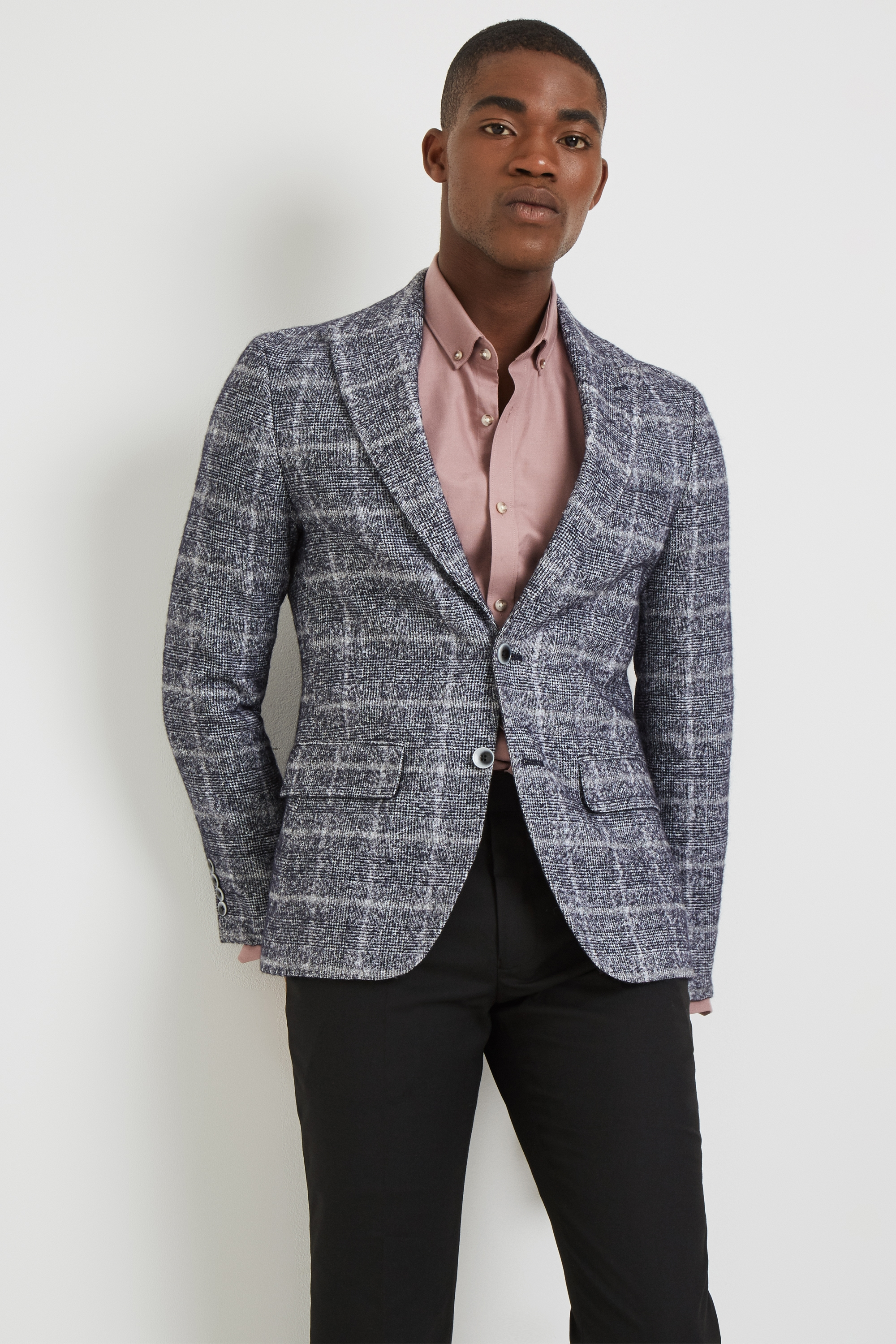 Moss Esq.Mens Blue Speckle Suit Jacket Regular Fit Single Breasted Two Button