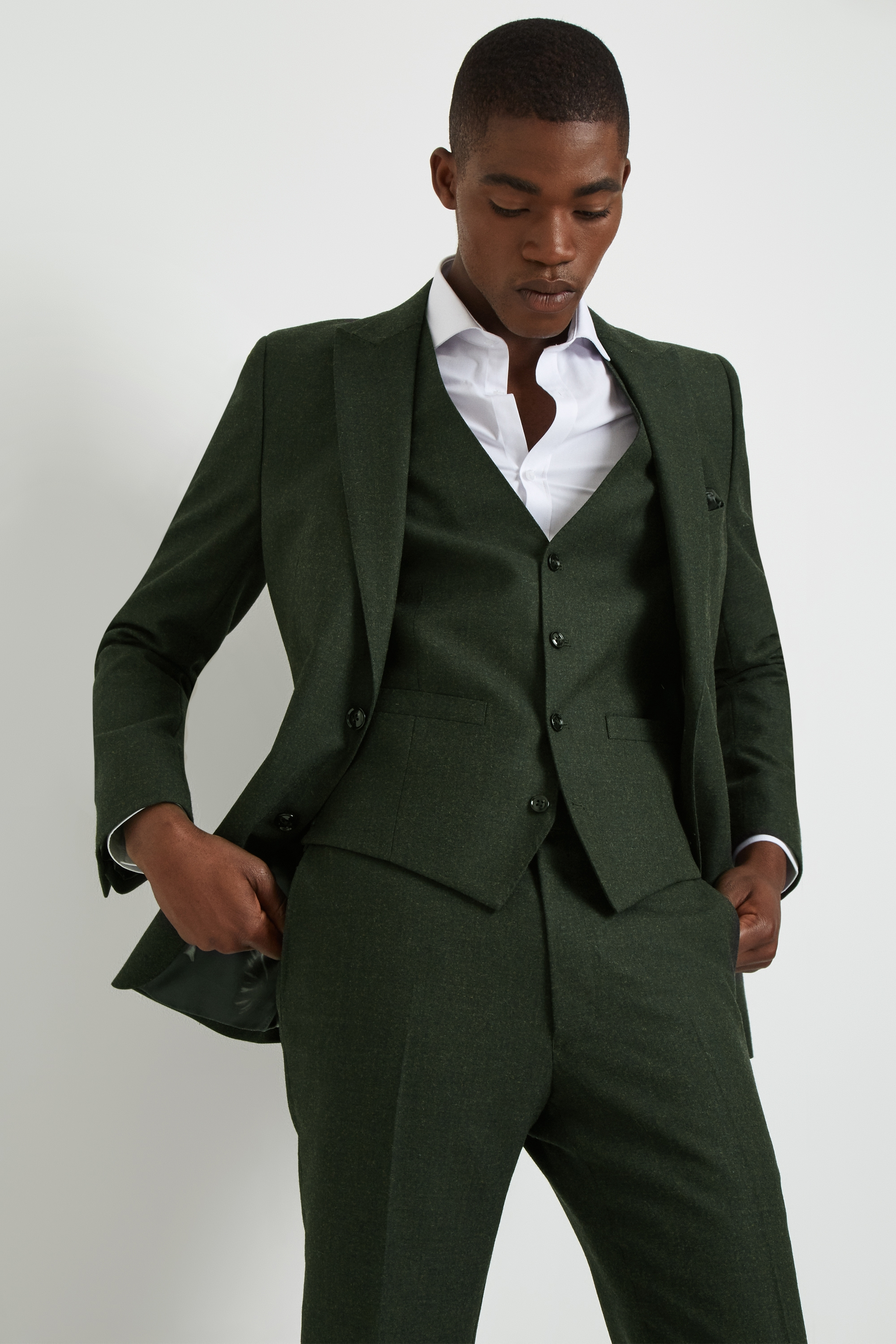 French Connection Mens Suit Jacket Slim Fit Olive Green