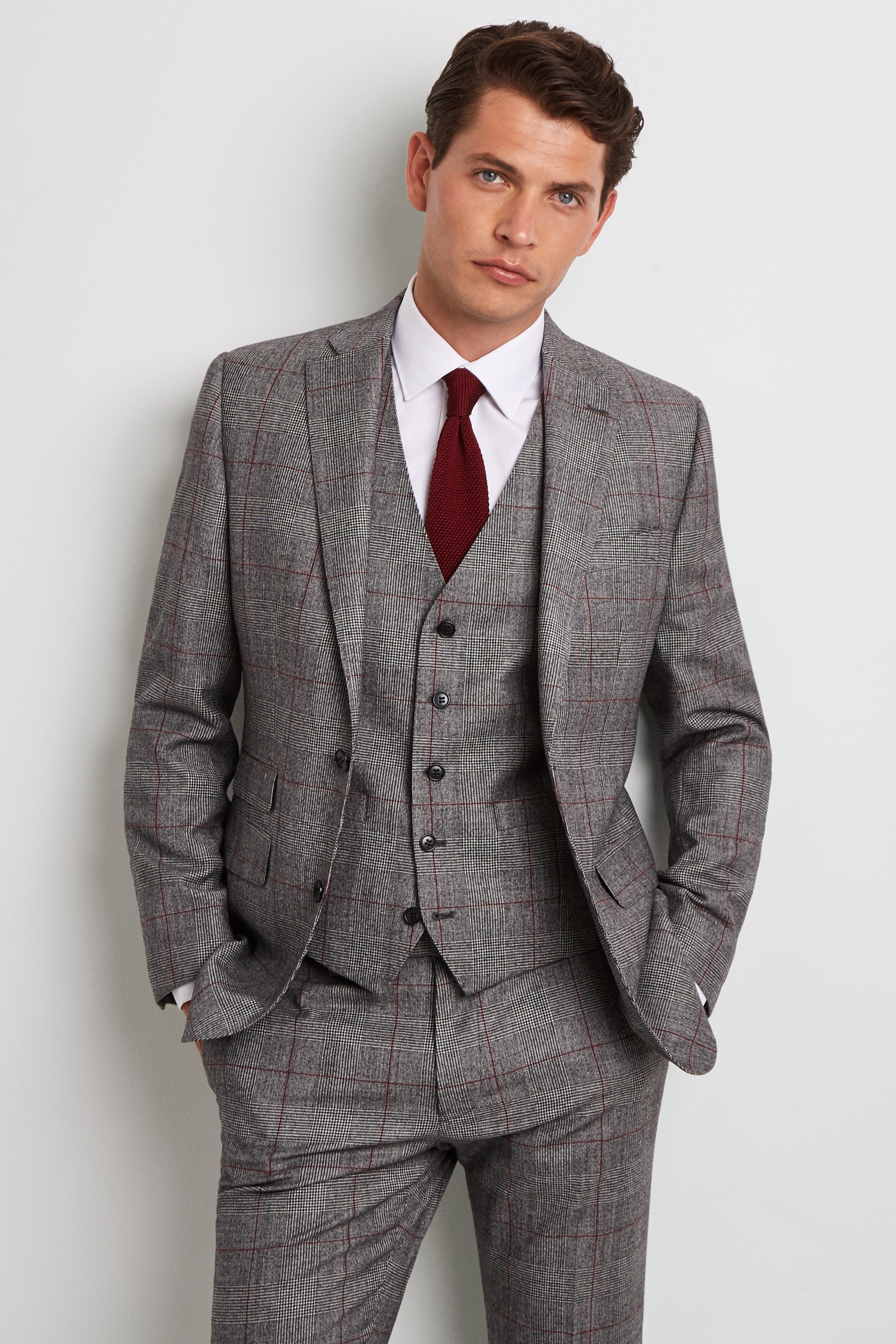 Details about Moss 1851 Mens Suit Jacket Tailored Fit Black \u0026 White with  Red Check 2 Button