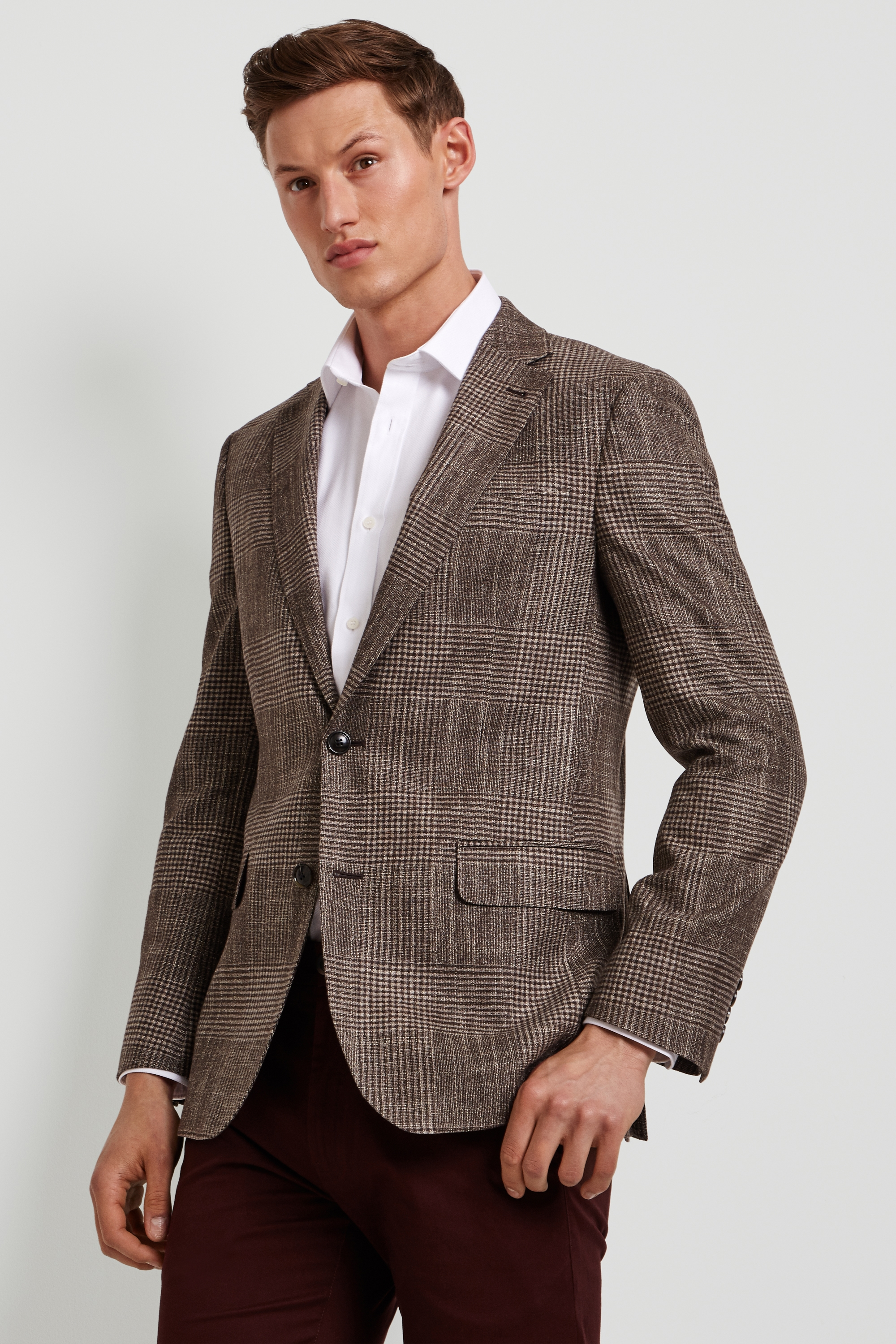 1b833a86 Details about Ermenegildo Zegna Cloth Mens Jacket Tailored Fit Brown Check  2 Button Blazer