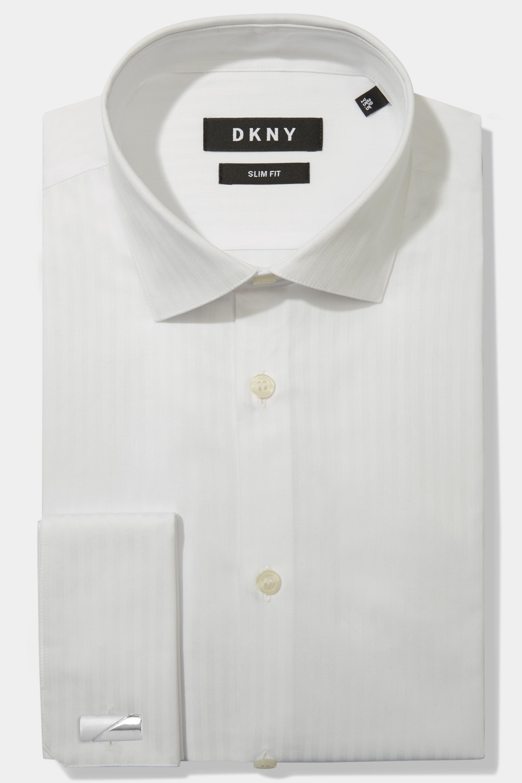 5cc66151 Details about DKNY Mens Shirt Slim Fit White Double Cuff Self Stripe Cotton