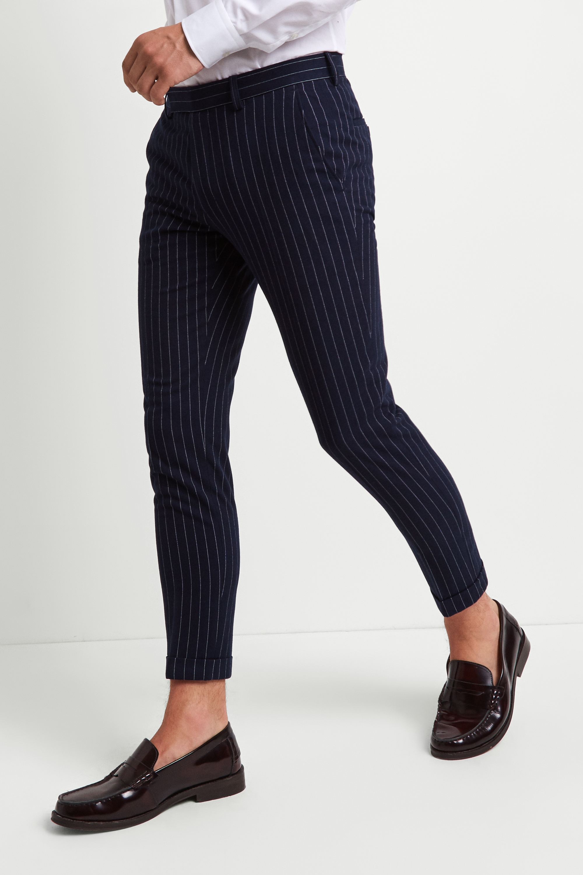 Moss London Mens Trousers Skinny Fit Navy Chalk Stripe Cropped Pants