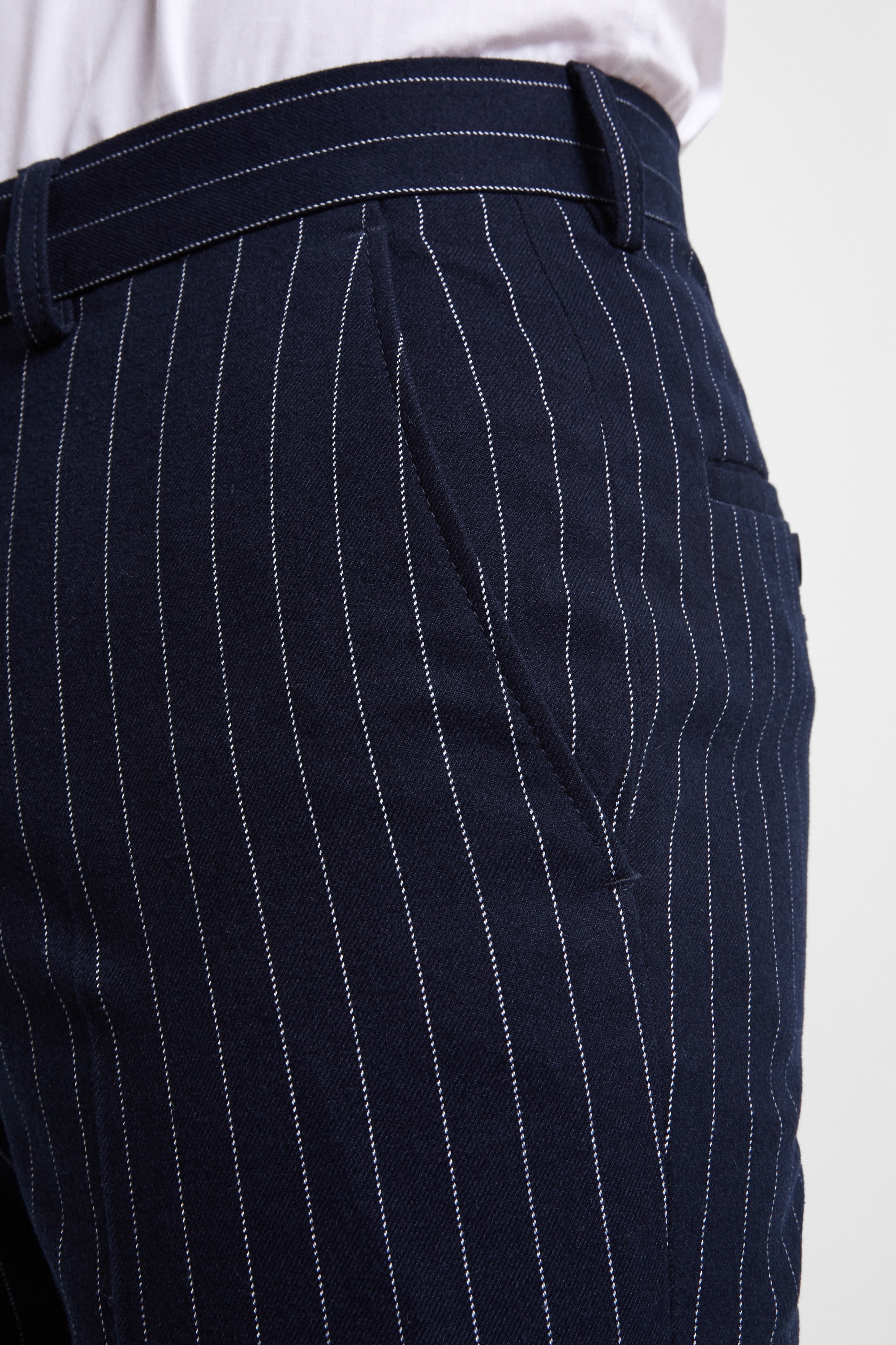 42c471d6acd Moss London Mens Trousers Skinny Fit Navy Chalk Stripe Cropped Pants Stretch