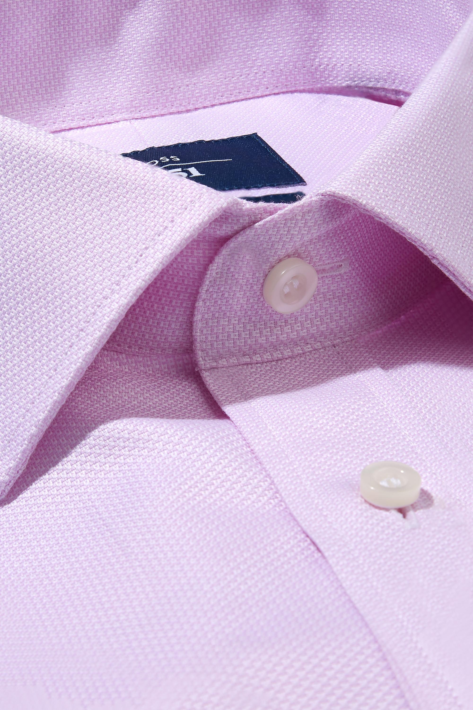 Moss 1851 Mens Tailored Fit Pink Single Cuff Textured Cotton Shirt