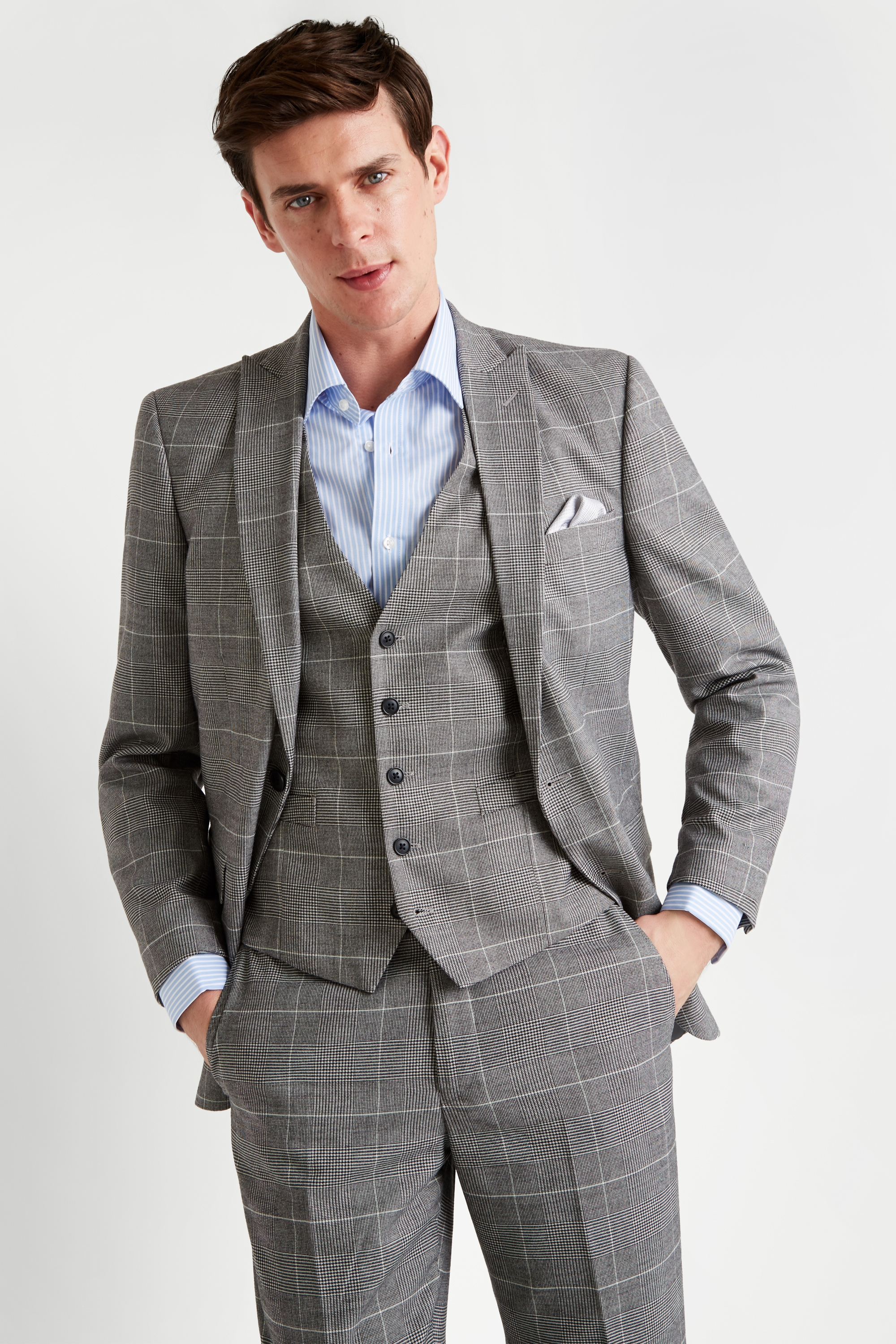 Details about Moss Esq. Regular Fit Black and White Check Mens Suit Jacket  2 Button