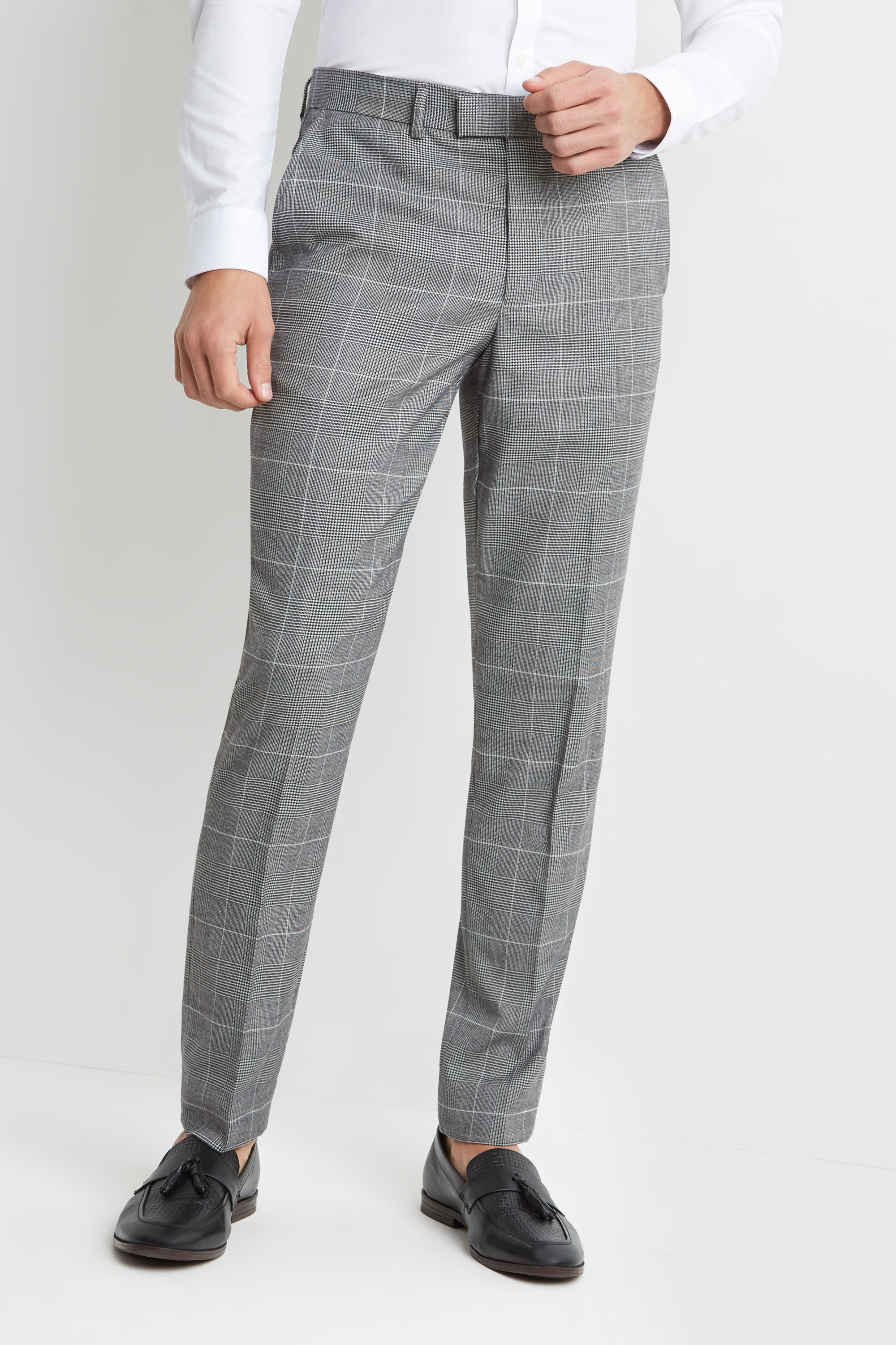 3258f51f65 Details about Moss London Skinny Fit Mens Trousers Black and White Check  Formal Pants
