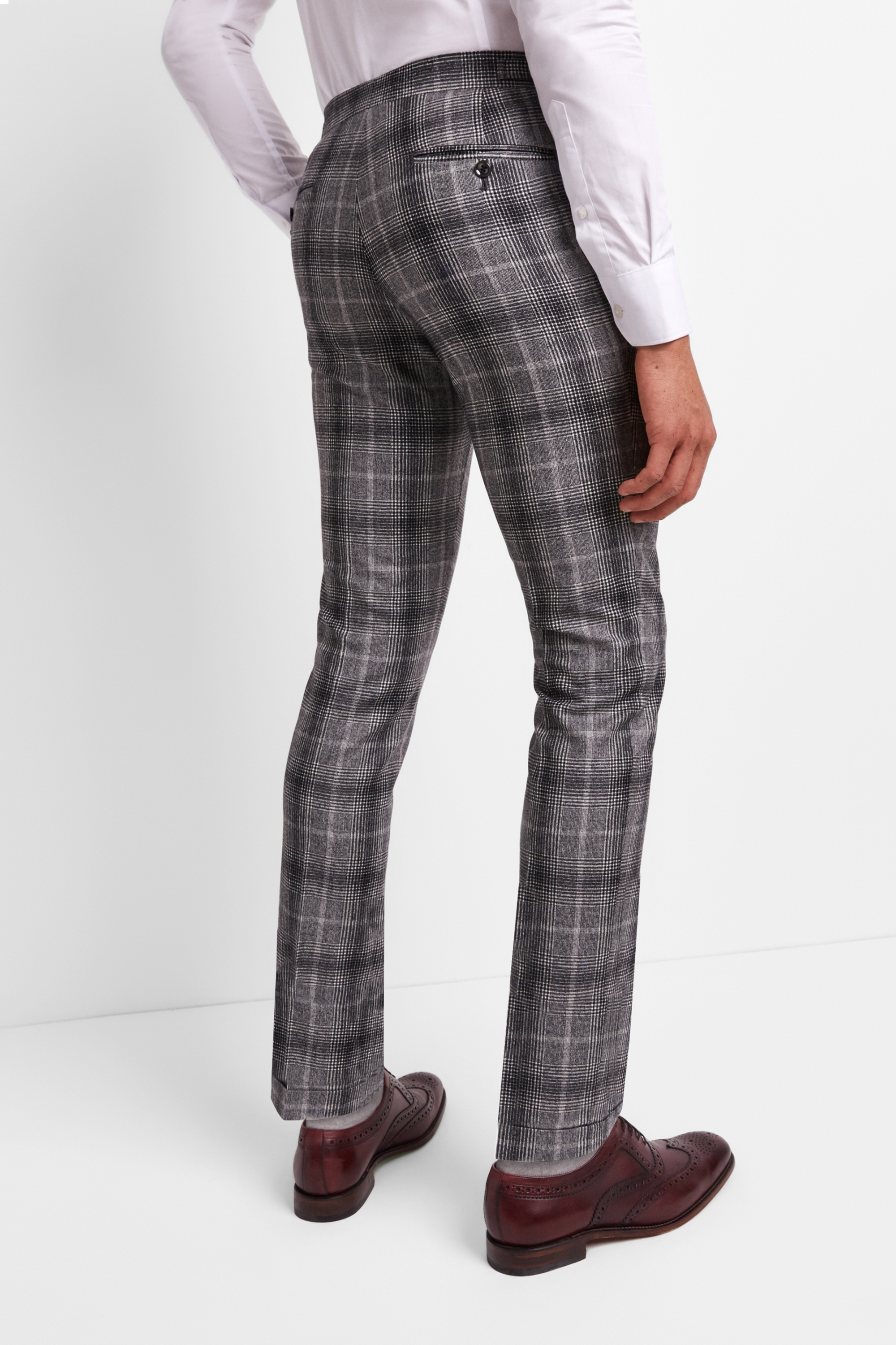 4af78154cb4bd Moss London Premium Mens Trousers Skinny Fit Black   White Check Pleated  Pants