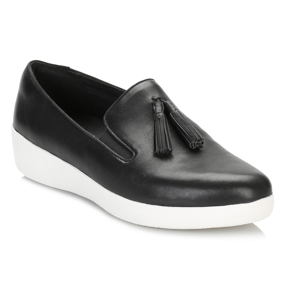 986b3b9e0 Details about FitFlop Womens Black Tassel Superskate Leather Loafers Flats  Casual Shoes