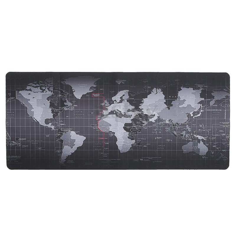 World Map Rug Ebay: Large Size Gaming Mouse Pad, Black, World Map Print