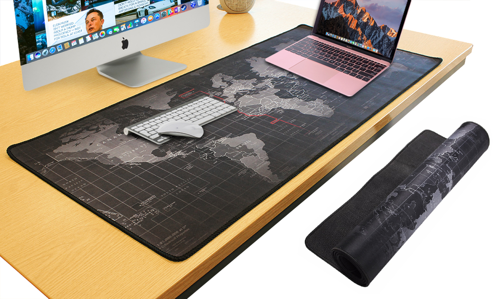 Large Size Gaming Mouse Pad Black World Map Print 90x40cm Non
