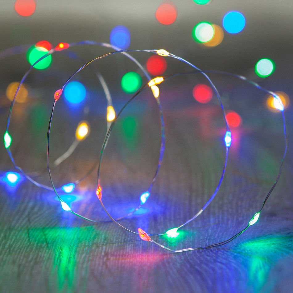 20 Multi Coloured LED Micro Fairy Lights Battery Operated Bare ...