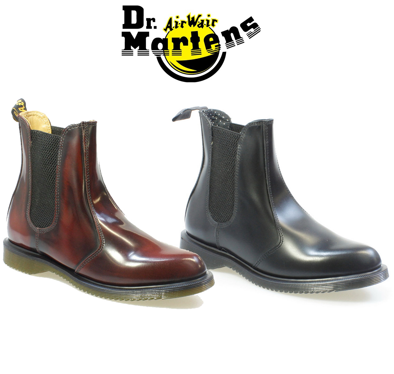 c89d61ccdf0 Details about Dr. Martens Womens Flora Chelsea Boots, Black or Burgundy  Red, Leather Shoes