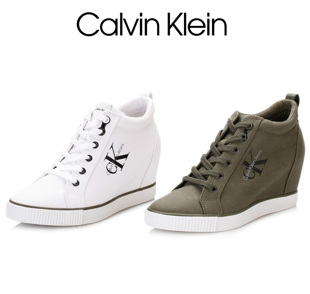 113f730f490 Details about Calvin Klein Womens Wedge Trainers