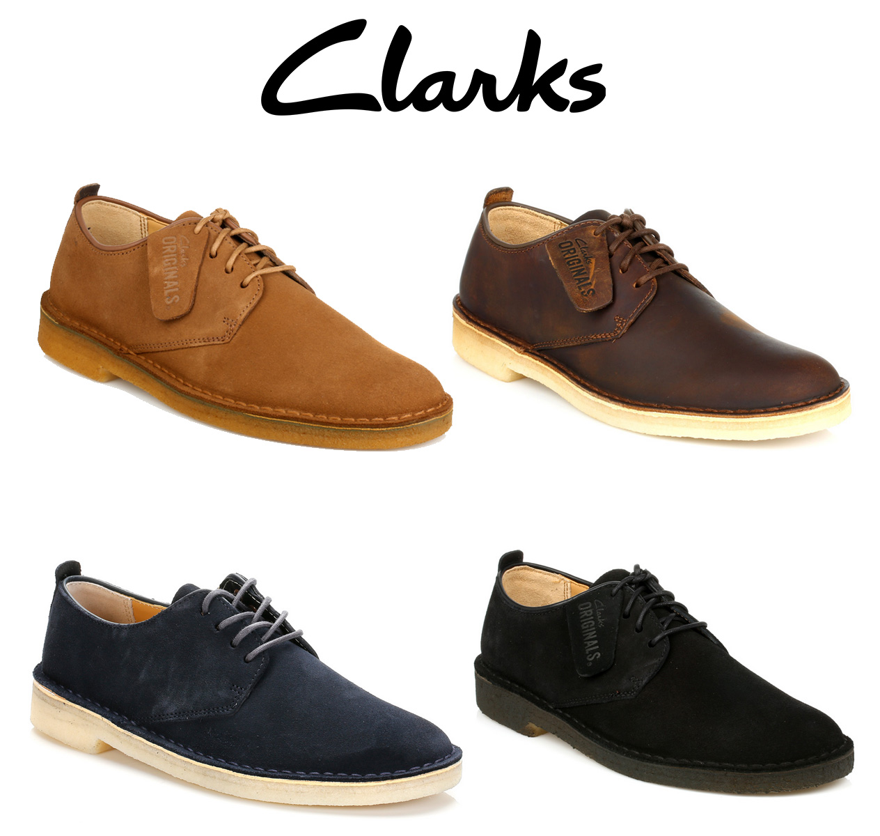d562efc7f3ed The classic Clarks Desert London shoes are a modern twist on the Derby  style. In smooth leather or suede upper and with the signature contrasting  crepe sole ...