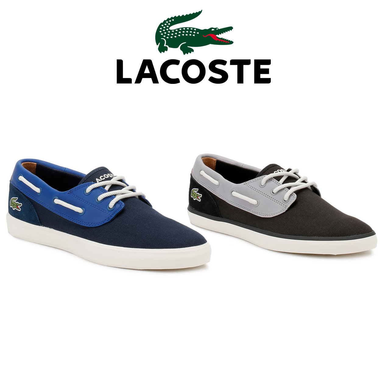 3ef399e2dc76 ... these Lacoste deck shoes are perfect for the summer months. Featuring a  Canvas and Leather panelled upper with contrasting twisted rope laces and  tonal ...