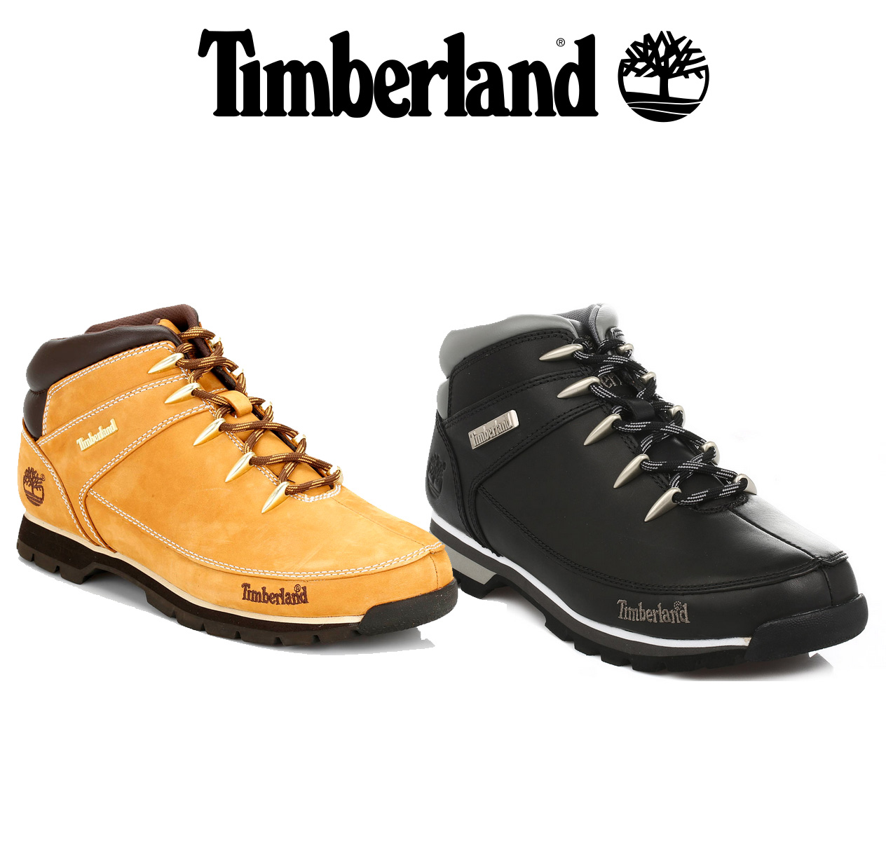 Details about Timberland Mens Euro Sprint Hiker Boots, Black or Wheat Yellow, Leather Shoes