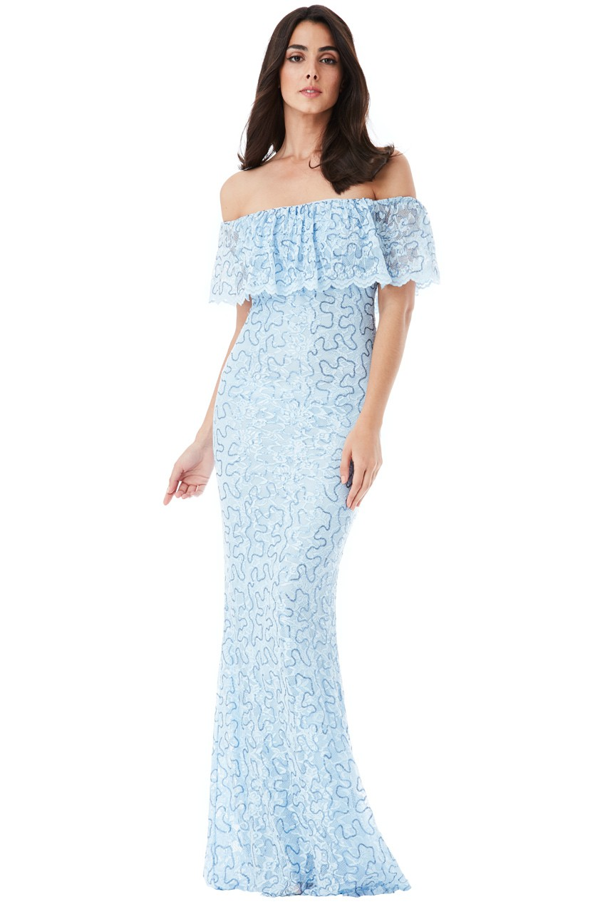 5a8a4763c0d1 Details about Goddiva Womens Bardot Lace Maxi Dress, Sky Blue, Sequin  Detail, Summer Wedding