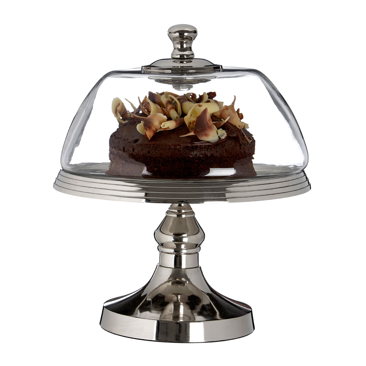 cake stand metal base glass dome silver ebay. Black Bedroom Furniture Sets. Home Design Ideas