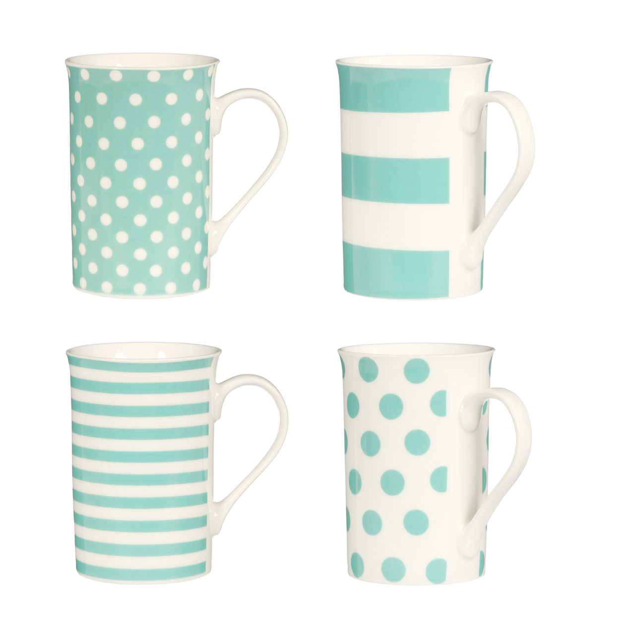 office mugs. Set Of 4 Coffee Mugs White Turquoise Spots Stripes Porcelain Home Office Tea Cup