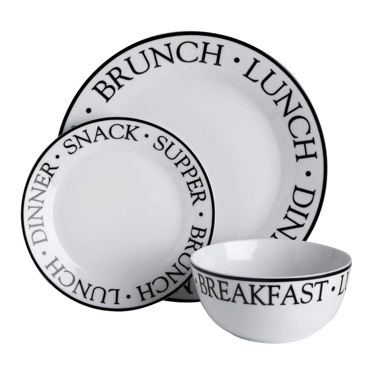 12pc Dinner Dining Set Lunch Brunch Noir Plates Bowls Porcelain Set