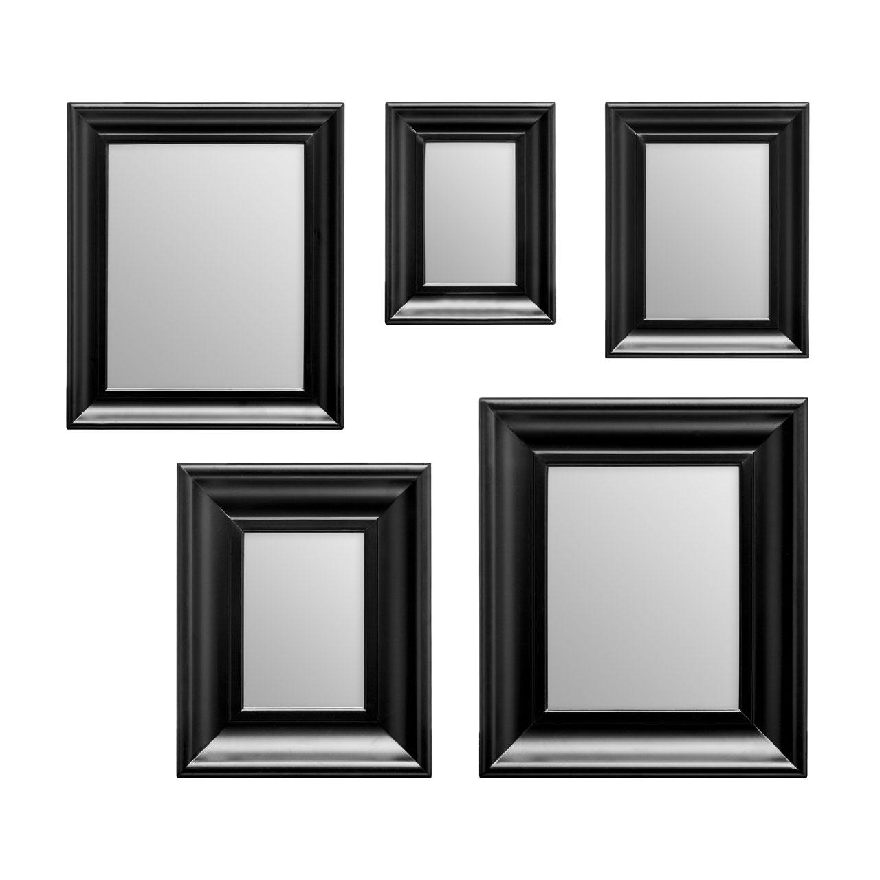 Premier Housewares Mirror Set, 5 Pcs, Black, Plastic Frame, Various ...
