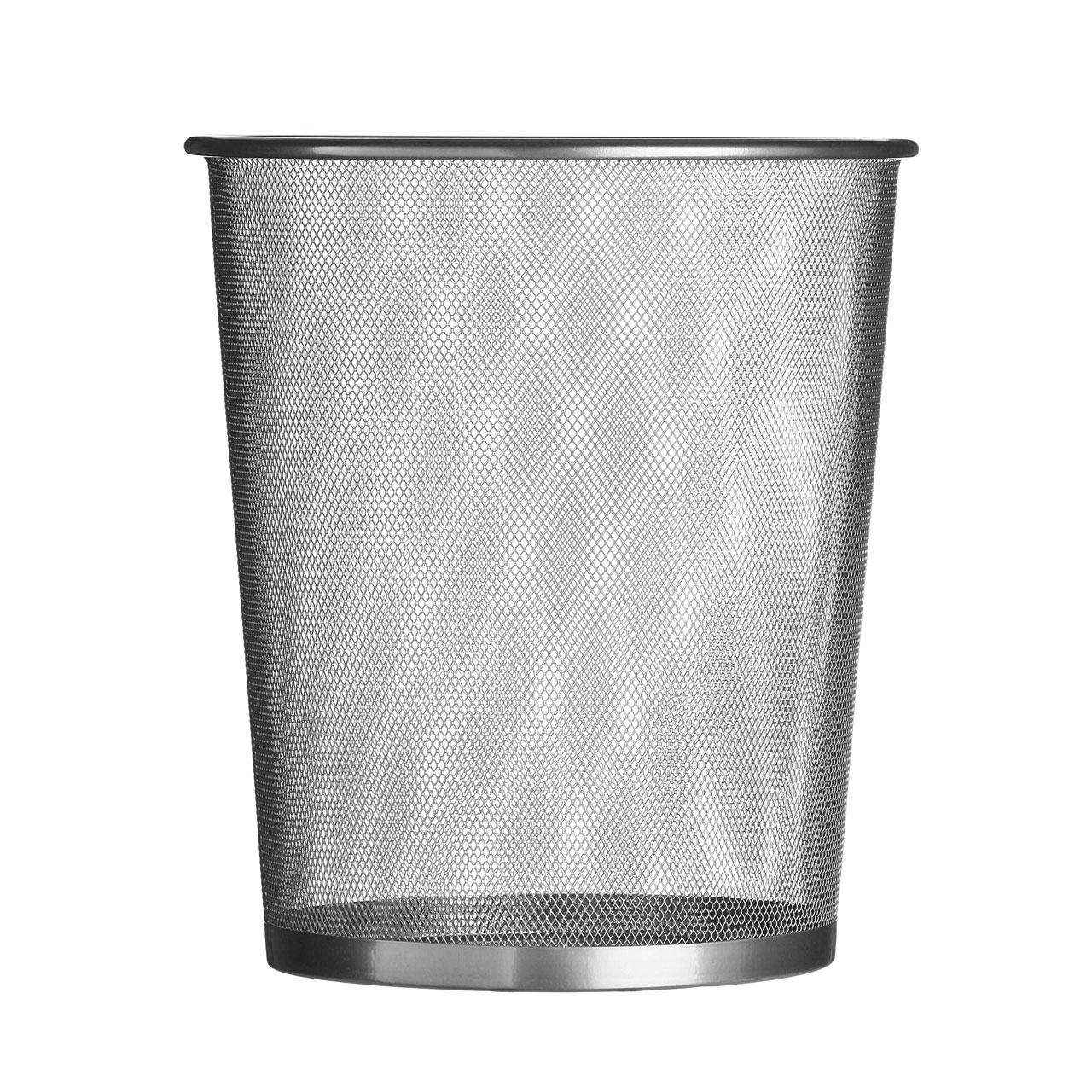 Large Silver Wire Mesh Waste Paper Bin 30x35cm Garbage Basket ...