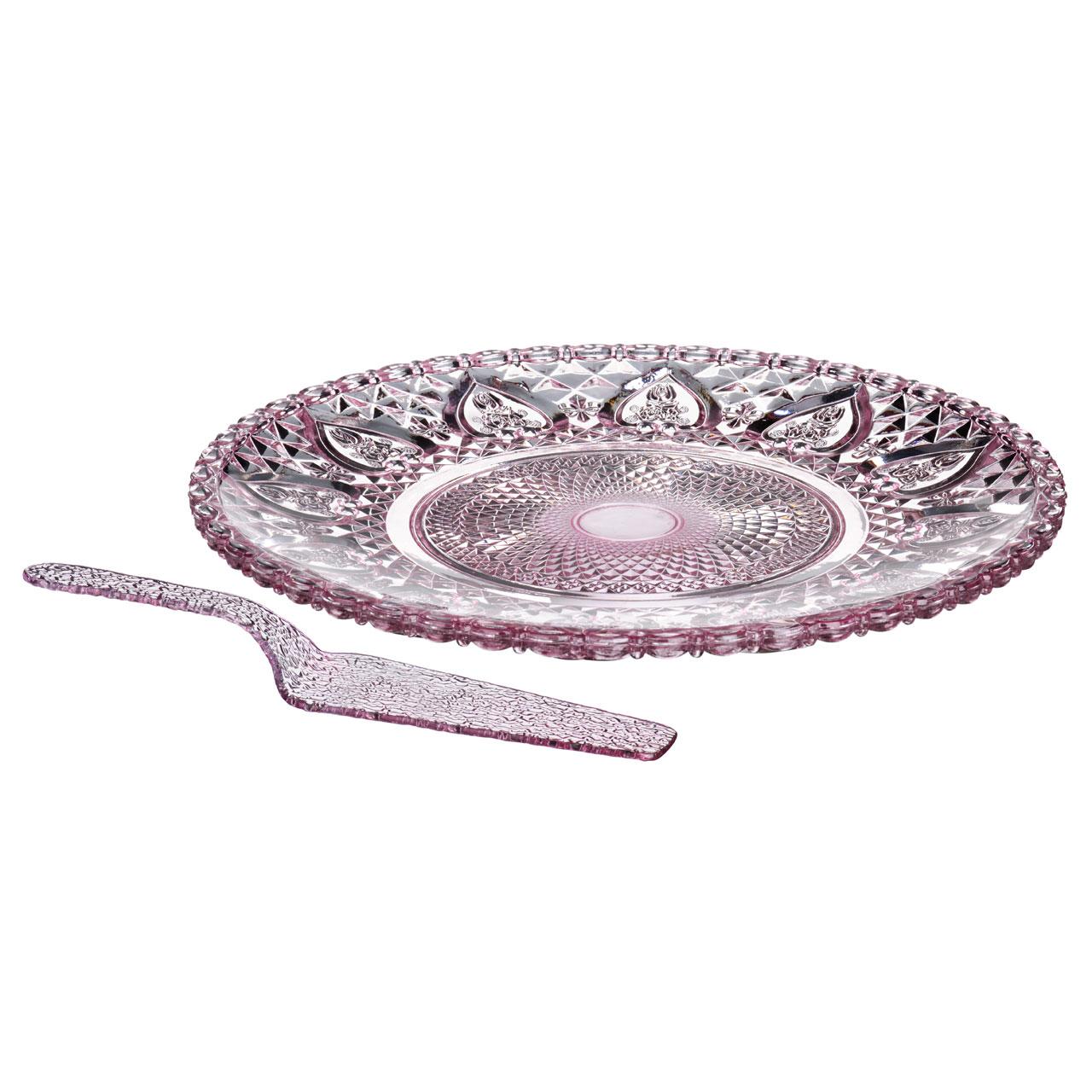 Cake Plate And Slicer Set Pink Gl