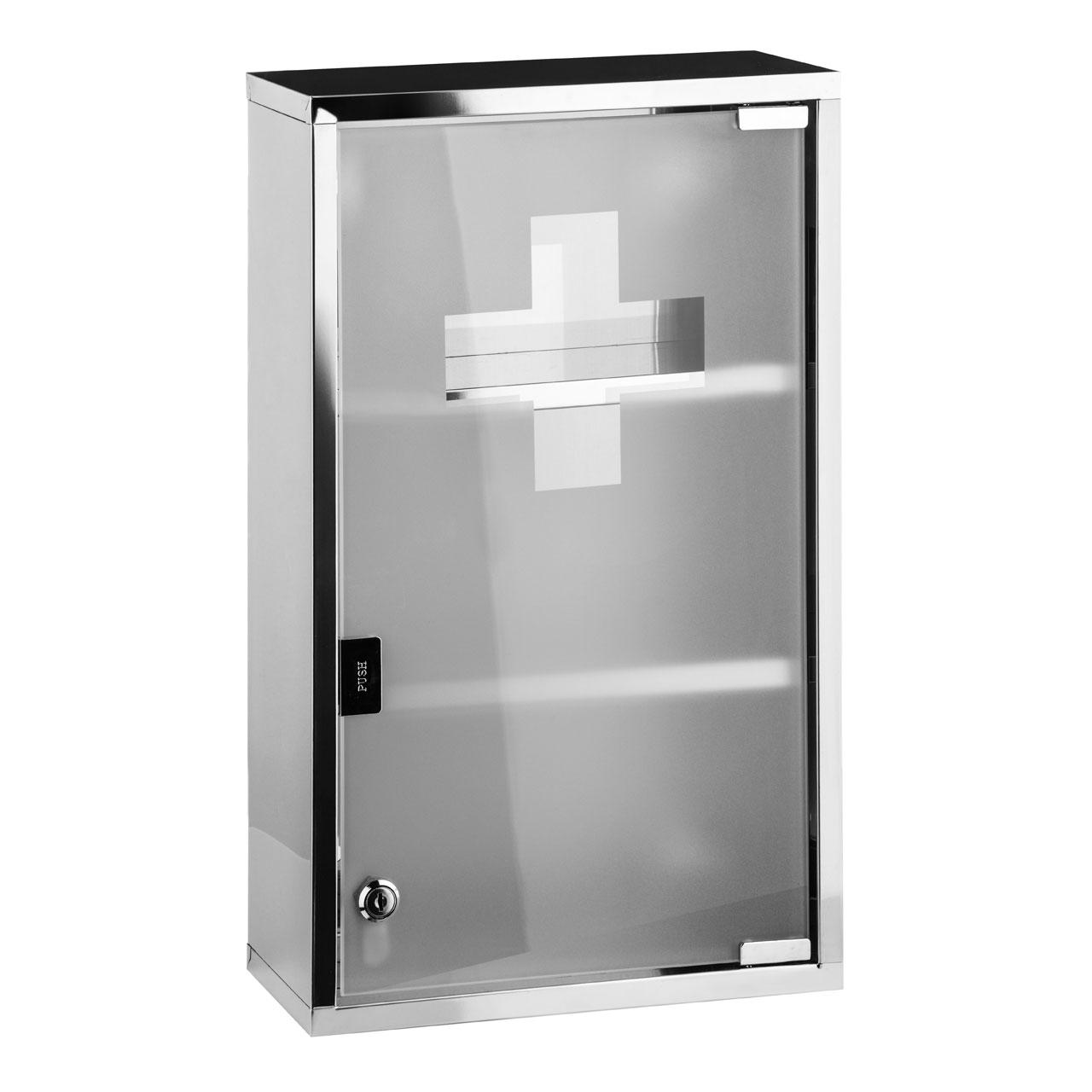 Premier Housewares Medicine Cabinet, Stainless Steel, Glass Door ...